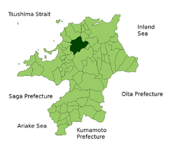 Location of Miyawaka in Fukuoka