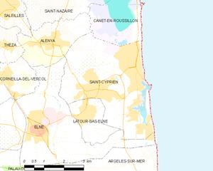 Saint-Cyprien, Pyrénées-Orientales - Map of Saint-Cyprien and its surrounding communes