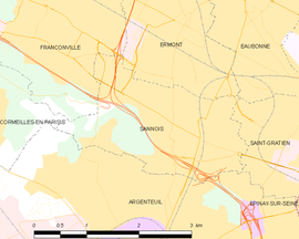 Location (in red) within Paris inner and outer suburbs
