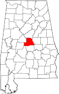 Map of Alabama highlighting Chilton County
