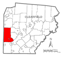 Map of Clearfield County, Pennsylvania highlighting Bell Township