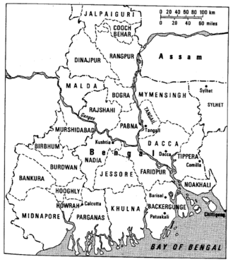 Line-drawing map of Bengal in 1943. All of its large political districts are shown and labelled.