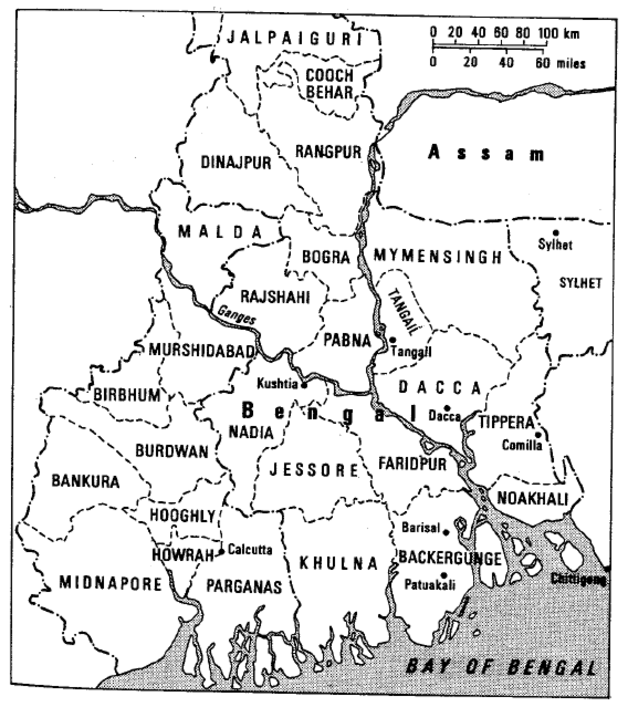Map of Bengal districts 1943
