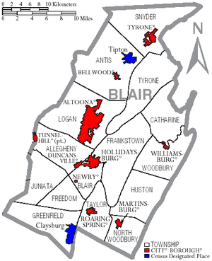 Blair County, Pennsylvania - Map of Blair County, Pennsylvania with Municipal Labels showing Cities and Boroughs (red), Townships (white), and Census-designated places (blue).