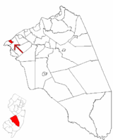 Riverton highlighted in Burlington County. Inset map: Burlington County highlighted in the State of New Jersey.
