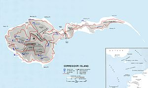 Battle of Corregidor - Map of Corregidor island in 1941