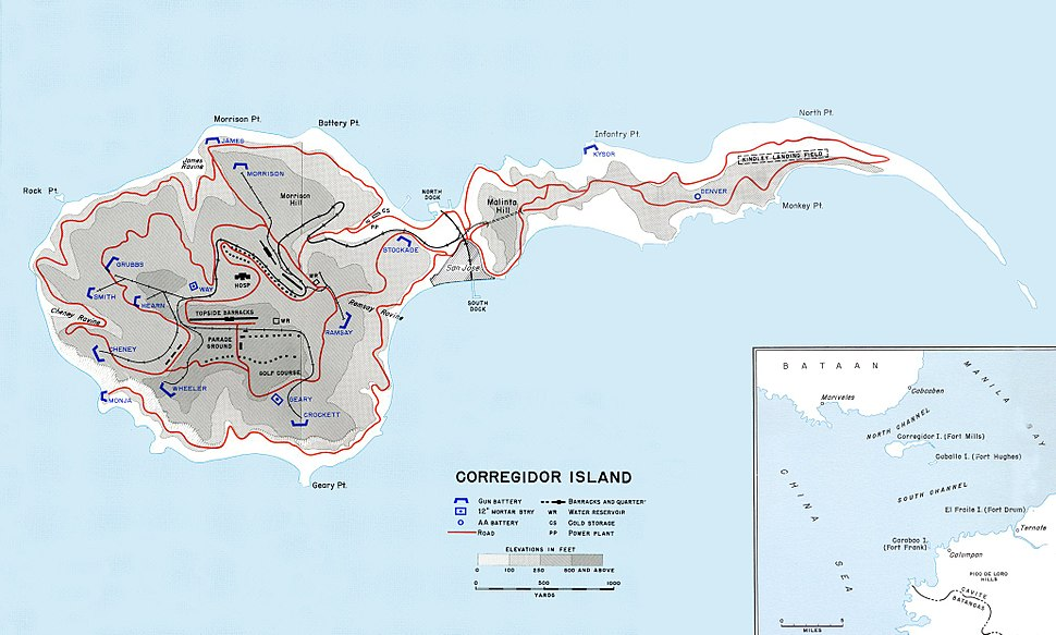 Map of Corregidor 1941