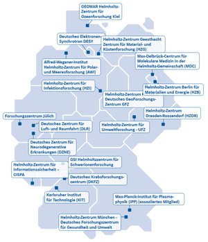 Helmholtz Association of German Research Centres - Map of the Helmholtz Centres in Germany