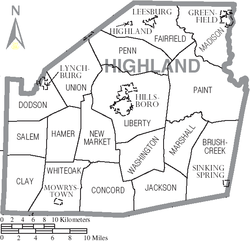 Map of Highland County Ohio With Municipal and Township Labels.PNG