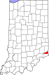 State map highlighting Ohio County
