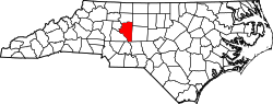 map of North Carolina highlighting Davidson County