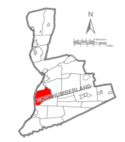 Map of Northumberland County, Pennsylvania highlighting Lower Augusta Township