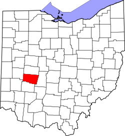 map of Ohio highlighting Clark County