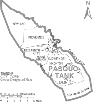 Pasquotank County, North Carolina - Map of Pasquotank County, North Carolina With Municipal and Township Labels