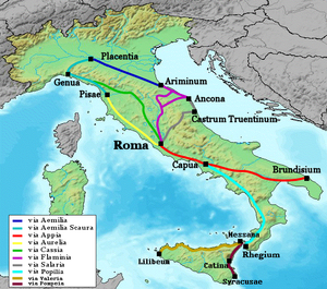 Aemilianus - The Flaminian Way, here in purple, divided into two branches next to modern Terni; Aemilian, who was descending from north upon Rome, defeated Trebonianus Gallus on the eastern branch.