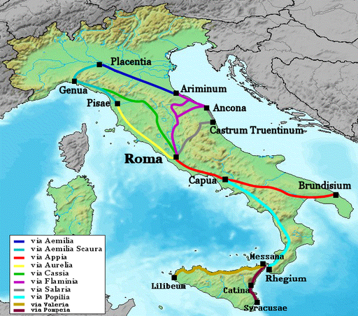 Map of Roman roads in Italy