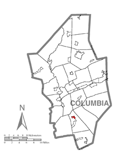Map of Slabtown, Columbia County, Pennsylvania Highlighted.png