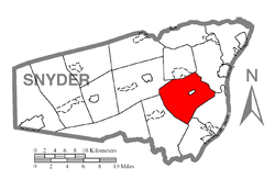 Map of Snyder County, Pennsylvania highlighting Washington Township