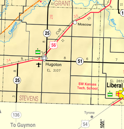 KDOT map of Stevens County (legend)