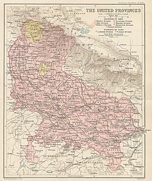 Garhwal Kingdom - Tehri Garhwal State in a Map of the United Provinces from The Imperial Gazetteer of India