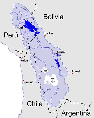 Altiplano - A map of the endorheic river basins that characterize the altiplano. In the north is Lake Titicaca and the Desaguadero River system; in the south is the Salar de Uyuni salt flat. The non-endorheic altiplano extends southward into Argentina and Chile.