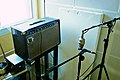 Marc Morgans guitar amp set-up by Guy Sternberg Musicman 210 HD one-thirty with Neumann M49 and Beyerdynamic M160 microphones, LowSwing studio, Berlin, 2011-01-22 14 44 09.jpg