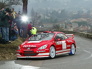 Monte Carlo Rally - Marcus Grönholm driving a Peugeot 307 WRC on the 2004 rally.