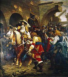 tableau représentant le maréchal de la Ferté rentrant dans la ville conquise de Belfort en 1654