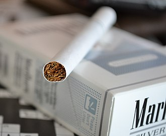 Marlboro (cigarette) - A cigarette and a pack of Marlboro Silver Pack (previously called Ultra Lights until the light name was banned as deceitful)