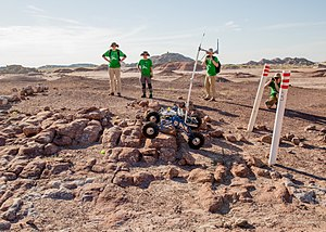 University Rover Challenge - Rover traverses rock garden in Mars Society University Rover Challenge