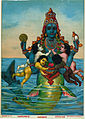 Matsya Avatar of Vishnu Printed by Ravi Varma Press - Vintage Poster.jpg