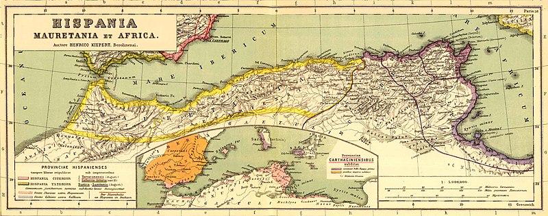 apa de las provincias romanas de Mauritania Tingitana, Mauritania Cesariense y Numidia.