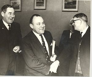Robert Muldoon - Muldoon (centre) as Minister of Finance, 26 June 1969; with him are Allan McCready MP and A J Shaw