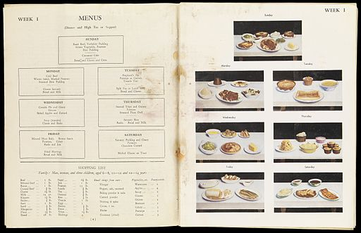 Meal planning suggestions from 'Family meals and catering' Wellcome L0072310