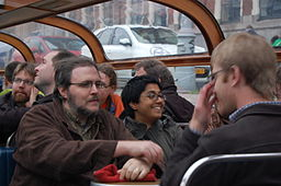Sumana and other Wikimedians enjoying a canal ride during the Amsterdam 2013 hackathon, by Andy Mabbett (Own work) [CC-BY-SA-3.0 (http://creativecommons.org/licenses/by-sa/3.0)], via Wikimedia Commons