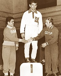 Mehdi Yaghoubi, Mustafa Dağıstanlı, Mikhail Shakhov 1956.jpg