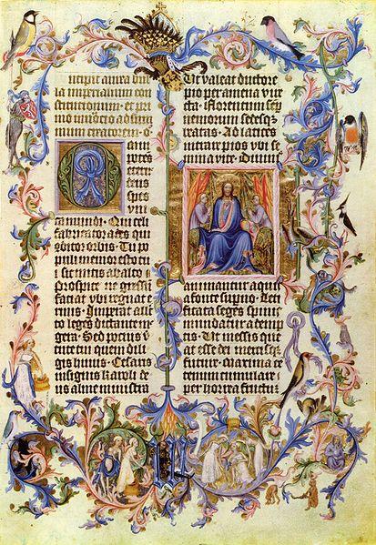 In die beiden Textkolumnen eingefügte Initiale und Miniatur; außerhalb des Textfeldes vegetabilische Bordüren mit Drolerien. Meister der Wenzel-Werkstatt:Goldene Bulle, Titelseite (1400).