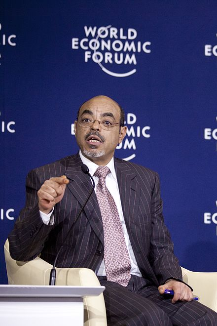 The economics expert Prime-Minister Meles Zenawi, being a panelist at World Economic Forum on 2012. Meles Zenawi - World Economic Forum on Africa 2012.jpg