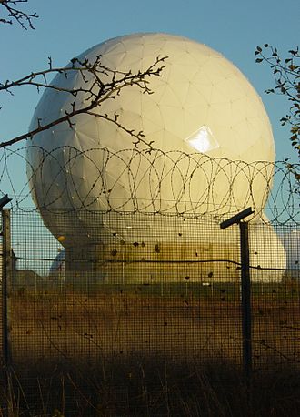 ECHELON - A radome at RAF Menwith Hill, a site with satellite uplink capabilities believed to be used by ECHELON.