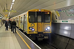 British Rail Class 316 (Picc-Vic) - Image: Merseyrail Class 507, 507003, Liverpool Lime Street underground station (geograph 4500645)