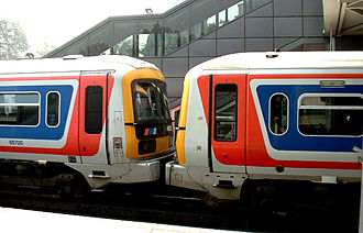 British Rail Class 465 - The easiest way to tell the two makes apart: The BREL unit on the right has air intakes above the main windows; the GEC Alsthom on the left doesn't.
