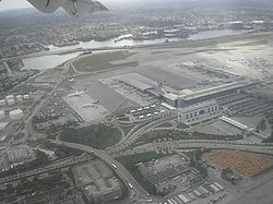 Aerial view of Miami International Airport, which services roughly 35 million people annually