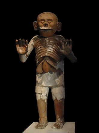 Mictlāntēcutli - Ceramic representation of Mictlantecuhtli recovered during excavations of the House of Eagles in the Templo Mayor, now on display at the museum of the Templo Mayor in Mexico City.