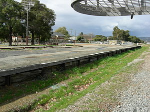 Midland Junction railway station - Original Midland Junction Railway Station platform looking north east from track-side