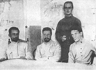 Grigori Sokolnikov - Grigori Sokolnikov, Mikhail Frunze and Valerian Kuybyshev head the Turkestan front. The image taken during Aug 1920 Red Army troops offensive against the city of Bukhara.