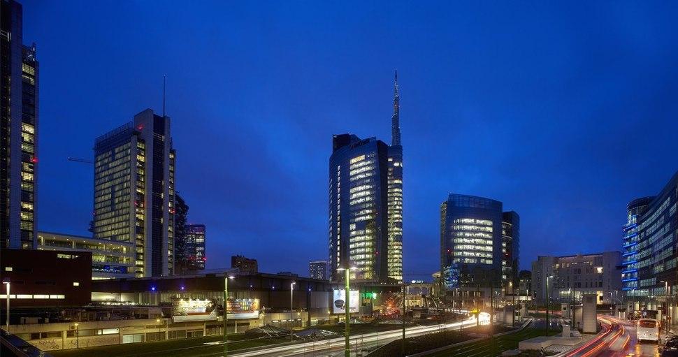 Milan Porta Nuova business district by night