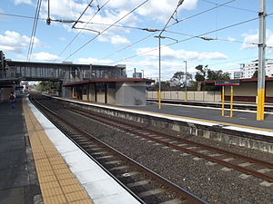 Milton railway station, Brisbane - Eastbound view from Platform 4 in August 2012