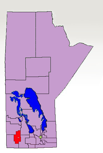 Minnedosa (electoral district) - The 1998-2011 boundaries for Minnedosa highlighted in red