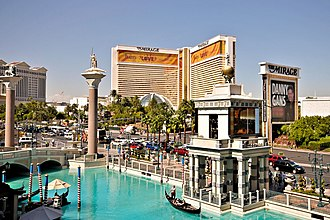 The Mirage - Built environment: The Mirage seen from The Venetian, 2008, showcasing the Beatles-themed Love show.