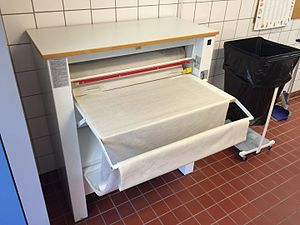 Mangle (machine) - A modern, motorized mangle in a residential building's laundry room in Sweden.